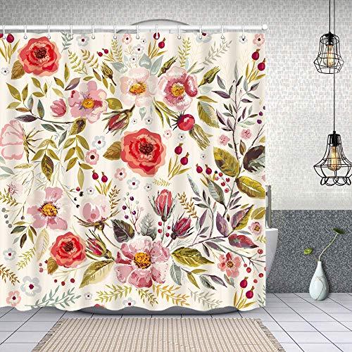 Cortina de Baño con 12 Ganchos,Fondo Floral Vintage Dibujado Mano con Flores Románticas,Cortina Ducha Tela Resistente al Agua para baño,bañera 180X180cm