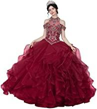 Calla Collection Womens Burgundy Halter Neck Quinceanera Ball Dress XS-3XL