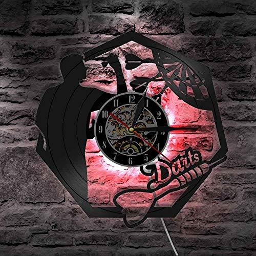 WERWN Dardos Vinilo Pared Reloj de Pared Club Sala de Juegos Dardos Tablero Decoración Reloj de Pared Moderno Lámpara