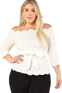 Best off the shoulder white blouse plus size Reviews