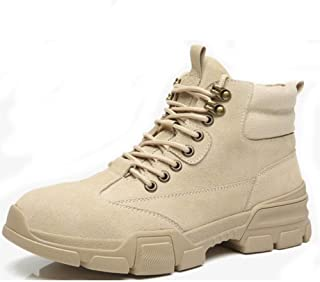 SHENYUAN Men's Ankle Boot Work Boots Contrast Collar Casual Suede Leather & Canvas Lace up Round Toe Non-slip Rubber Sole Hiking Work or Casual Wear (Color : Sand, Size : 43 EU)