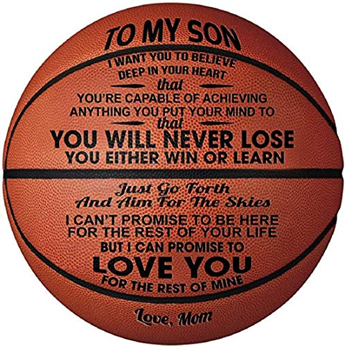 Engraved Basketball Gift for Son, Personalized Size 7 Basketball Graduation Gift for Son Custom Birthday Back to School Holiday Souvenir from Mom, Dad and Parents