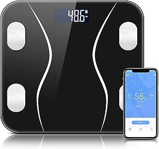 体重計 体組成計 体脂肪計 Bluetooth スマホ連動 体重/体脂肪率/体水分率/骨量/基礎代謝量/内臓脂肪レベル/BMIなど測定可能 Fitbit/Apple Healthと連携 iOS/Androidアプリで健康管理 体重管理 肥満予防 ダイエット 電池付き スマートスケール 【日本語説明書】(黒)