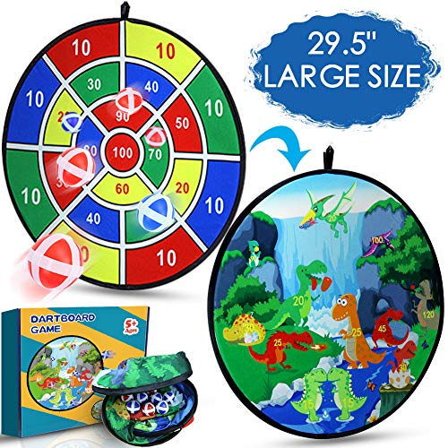 "KERIQI 29.5"" Large Board Games for Kids, Double-Sided Dart Board with Hook & 10 Sticky Balls, Safety Darts for Birthday Party Indoor Outdoor Family Games, Best Toy Gifts for Kids Age 5+-Year-Old"