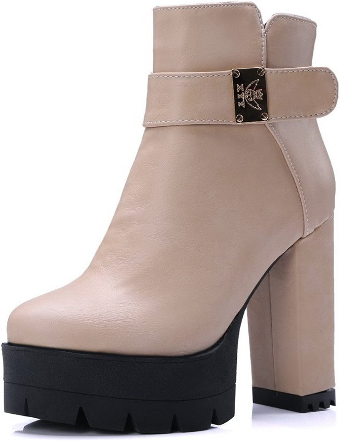 WeenFashion Women's Soft Material Round Closed Toe Solid Low-top High-Heels Boots