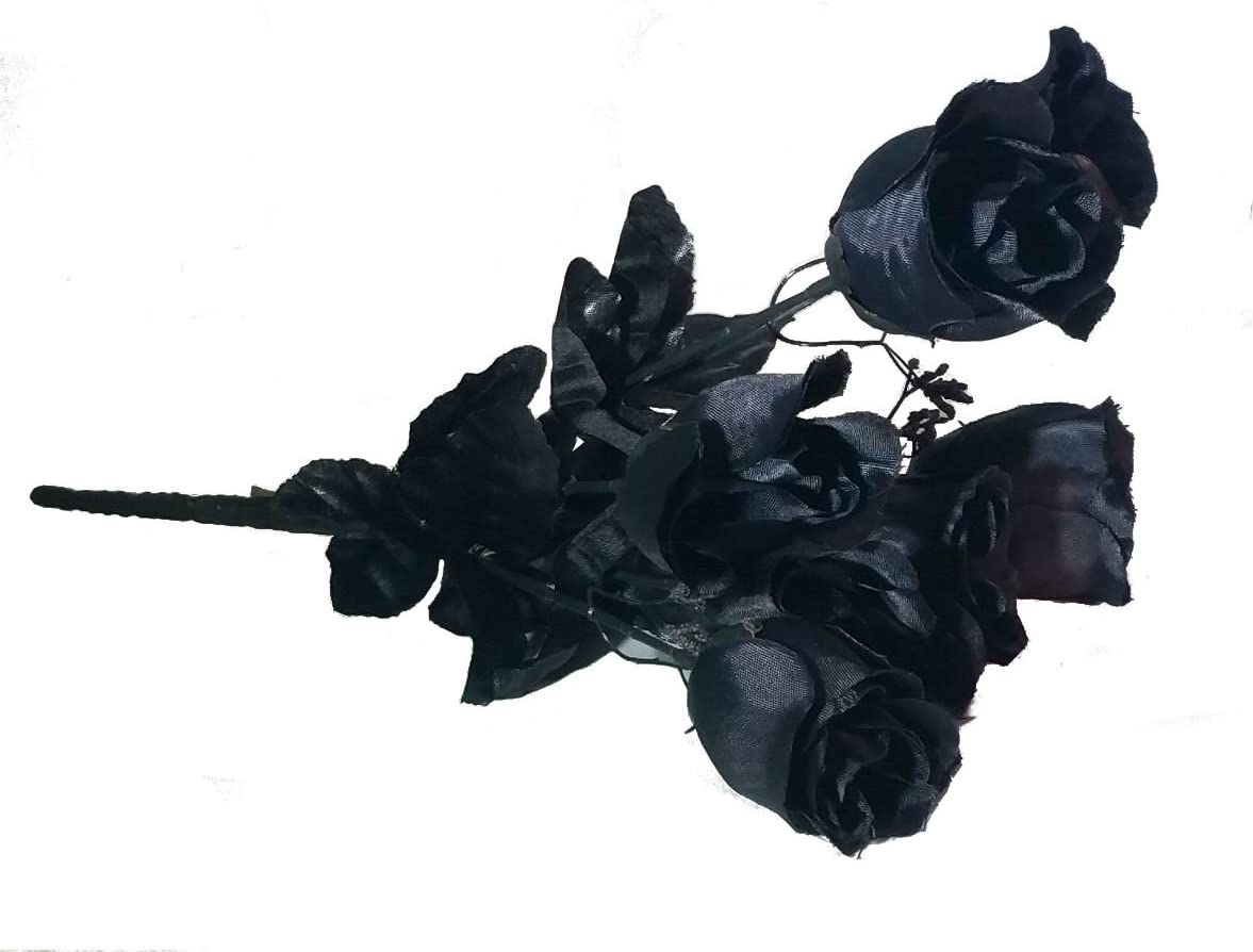 MM TJ Products Artificial Black Roses- Real-Looking Everlasting Black Roses Bouquet- 7 Stems Bouquet of Black Roses (1)