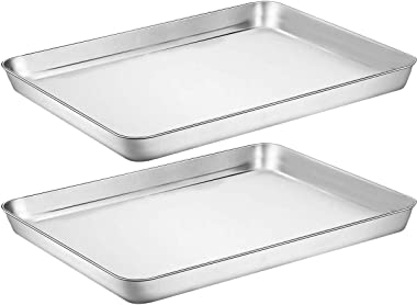 Baking Sheet Cookie Sheet Set of 2, Umite Chef Stainless Steel Baking Pans Tray Professional 16 x 12 x 1 inch, Non Toxic & He