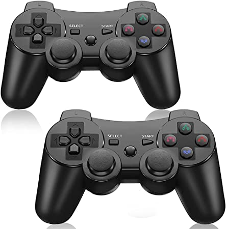 Red + Black CHENGDAO PS3 Controller Wireless 2 Pack Double Shock ...