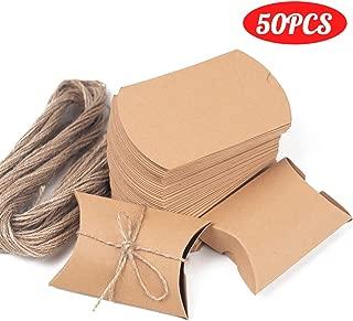 Kraft Box, 50 PCS Pillow Wedding Candy Boxes, 3.5