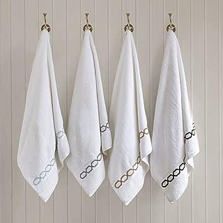 Chainlink 700Gsm Cotton Bathroom Towels , Striped Elegant Highly Absorbent Bath Towel Set , 6-Piece Include 2 Bath Towels, 2 Hand Towels & 2 Wash Towels , White Taupe