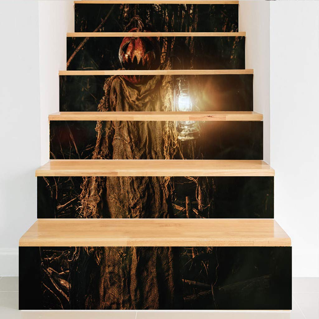 99AMZ Pegatina De Pared para Escalera De Halloween 6 Pzas 18 x 100cm Castillo De Calabaza Fantasma De Halloween Escalones Pegatina para Pared Cartel Calcomanía Pegatinas Decoración de Escaleras (I): Amazon.es: Hogar