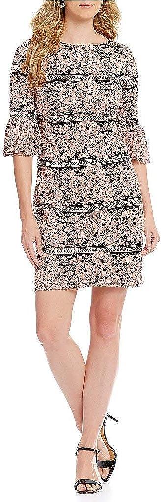 Jessica Howard Women Bell-Sleeve Lace Dress, Blush/Black, Size 8 Petite