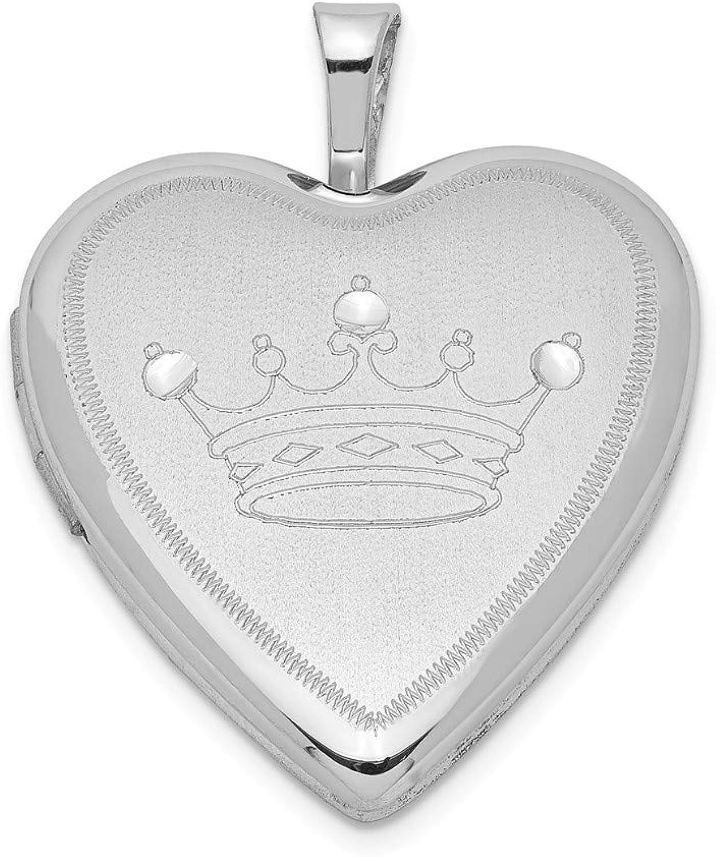 Sterling Silber rhodiniert 20 mm Satin & D C Krone Herz Medaillon B071Y1NL85