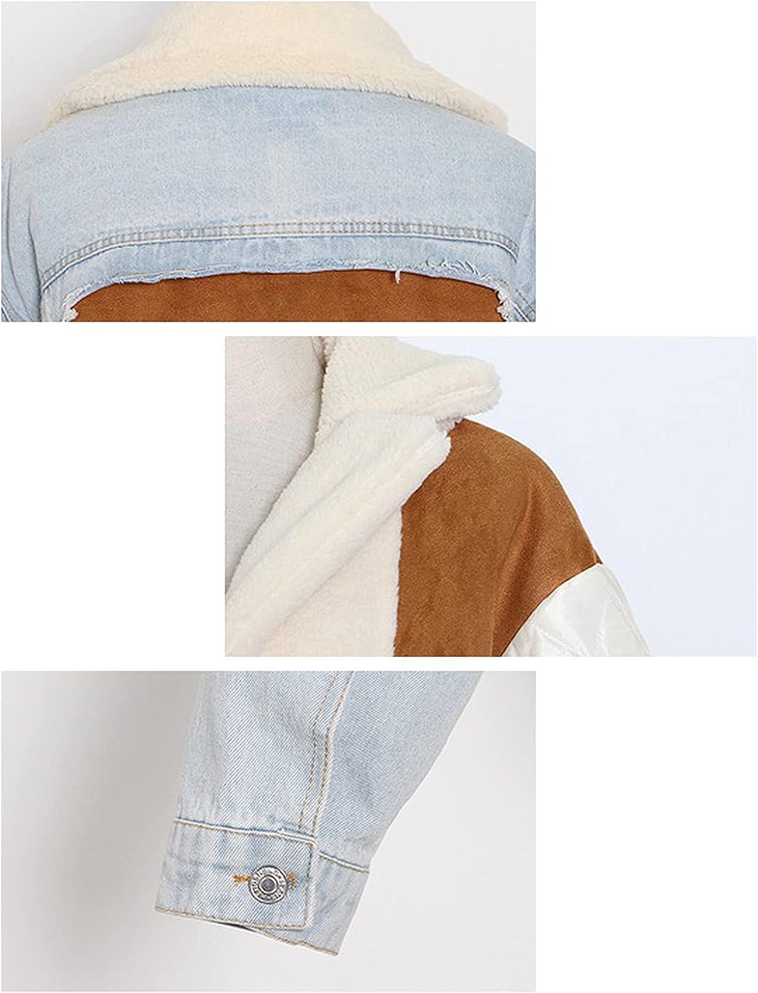 Lentta Women's Casual Lapel Long Sleeves Patchwork Fleece Denim Jacket Outerwear