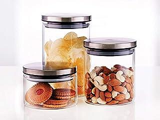 Borosil Classic Glass Jar Set, 3-Pieces 300/600/ 900Ml / Borosil Container & Holder