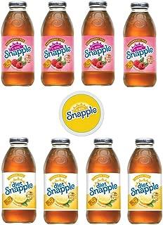 Snapple Iced Tea, 4 Raspberry/4 Diet Lemon Tea, 16oz Bottle (Pack of 8, Total of 128 Fl Oz) sticker included
