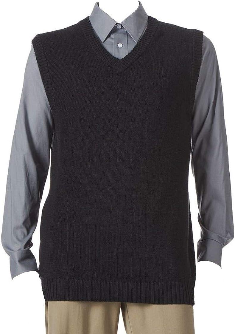 Croft & Barrow Classic Fit V-Neck Sweater 12gg Vest Black Size XLT Tall