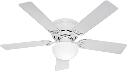 discount Hunter online high quality Indoor Low Profile III Plus Ceiling Fan with Light and Pull Chain Control outlet online sale