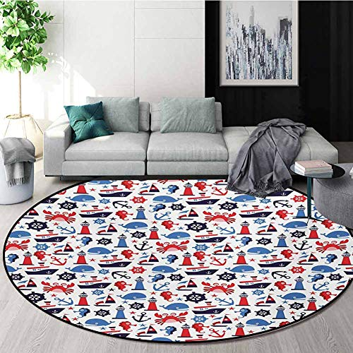 Purchase RUGSMAT Nautical Carpet Gray Round Area Rug,Steering Wheel Crab Cartoon Style Happy Fun Chi...