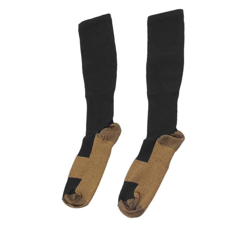 戦士突破口トランジスタファッショナブルな快適な救済ソフト男性女性抗疲労圧縮靴下抗疲労静脈瘤ソックス - ブラックL