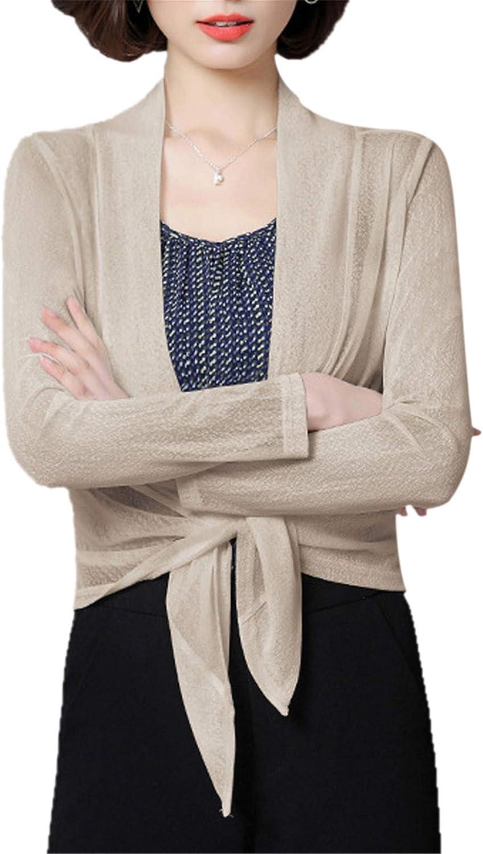 Miqieer Women's Plus Size Long Sleeve Sheer Lightweight Soft Cardigan Shrug Open Tie Front Bolero
