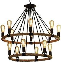 Mopoq 14 Lights American Style Black Metal Large Hemp Rope Pendant Lamp Retractable Chandelier Ceiling Light Lighting Fixt...