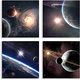 Satellite View Canvas Set,Outer Space Stars Print Creative Galaxy Wall Art Decor for Bedroom, Modern Home Decor Universe Artwork Wall Print Planetary Wall Decor Astronomy Abstract Art
