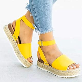 Open Toe Ankle Strap Platform Wedge Sandals, Casual Low Mid Heel Flatform Wedge Sandals for Womens/Ladys,D,35