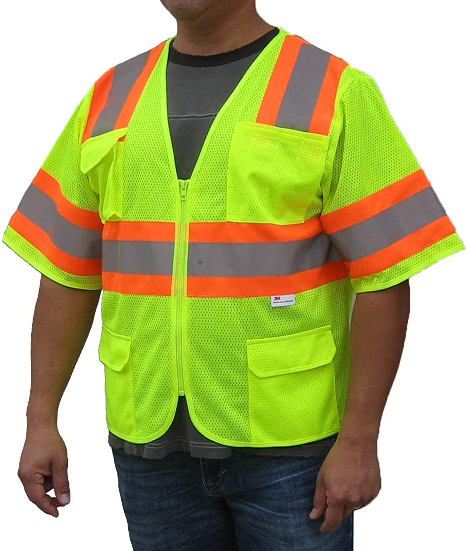 3C Products SV5300, ANSI/ISEA Class 3, High Vis Mesh Safety Vest, 3M Reflective w/Orange Binding, 7 Pockets, Neon Green