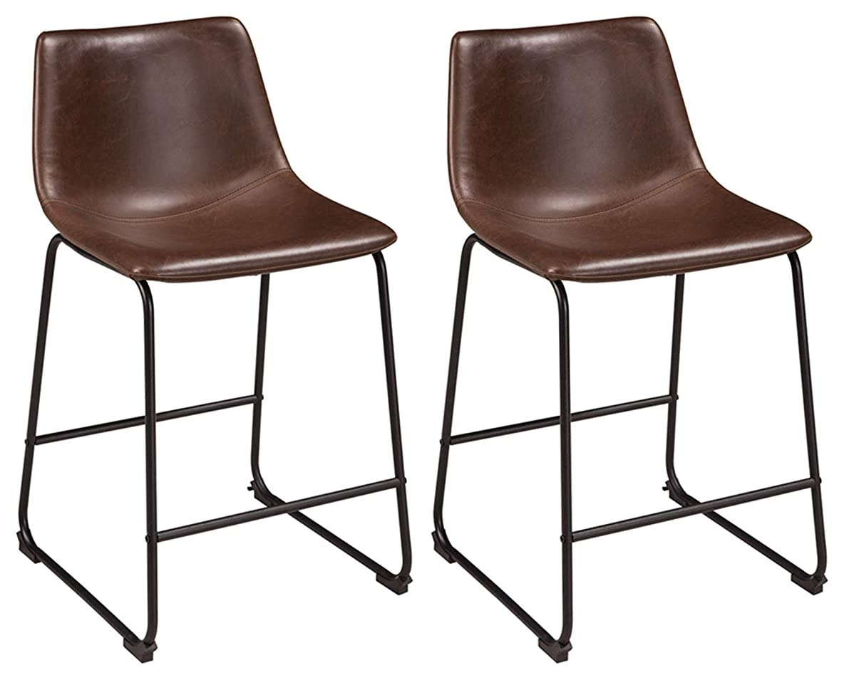 Ashley Furniture Signature Design - Centiar Counter Height Barstool - Set of 2 -  Mid Century Modern Style - Black Metal Base - Brown Faux Leather Bucket Seat