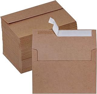 Winlyn 150 Pcs 4x6 Envelopes A4 Invitation Envelopes Self Seal Brown Kraft Envelopes 4x6 Greeting Cards Envelopes Mailing ...