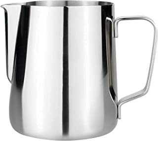 QZQ Stainless Steel Milk/coffee frothing pitcher, with measuring scale and cut edge, perfect for frothing and steaming Us...
