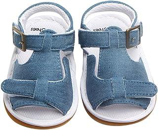 Hopscotch Girls Cotton Infant Sandals in Blue Color