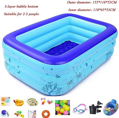 DSFGHE Enfant Piscine Gonflable épaissir Famille Adulte Grandes Piscines Gonflables Baignoire Gonflable pour Bébé Extérieur été PVC Pataugeoire,bleu-155CM