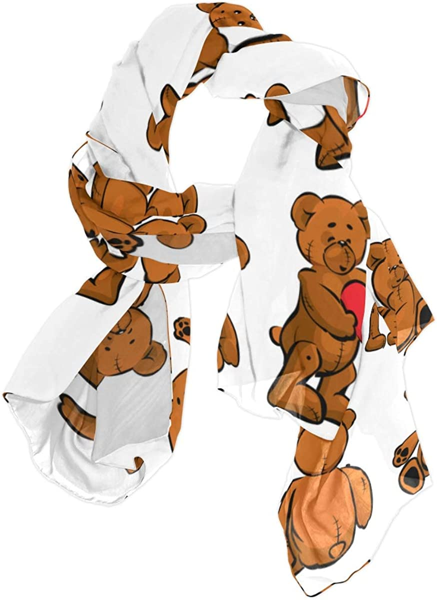 Cute Cartoon Brown Bear Unique Fashion Scarf For Women Lightweight Fashion Fall Winter Print Scarves Shawl Wraps Gifts For Early Spring