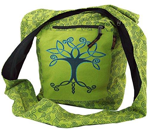 GURU SHOP Sadhu Bag, Shopper, Schulterbeutel - Lemongrün, Herren/Damen, Baumwolle, Size:One Size, 40x35x25 cm, Alternative Umhängetasche, Handtasche aus Stoff