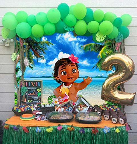 DANIU Dziecko Moana tło 1. urodziny baner niebieski morze lato fotografia tło dekoracja stołu do ciasta (2,1 x 1,5 m)