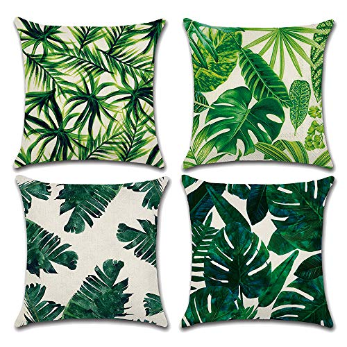 TEALP Green Cushion Cover Pillow Case Leaf 4 Pieces Home Decor Pillow Cover 18x18inch(45x45cm)