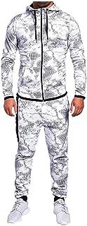 Beautyfine Men's Sweatshirt Suit Tracksuit Autumn Print Zipper Hooded Top Pants Sets Sports