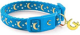 "waaag Pet Collar Gold Moons and Stars Cat Collar, Safety Breakaway Cat Collar, Glow in The Dark Kitten 6.5""-10"" Neck Royal..."