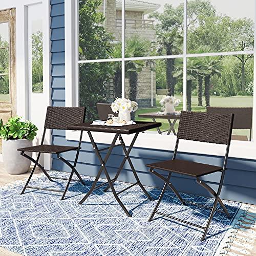 Joolihome Rattan Garden Furniture Set Brown,Folding Table+2 Chairs Bistro...