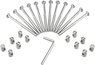 M6 Barrel Bolt Nuts Kit Including M6 x 4 inch Barrel Bolts, M6 x 0.49inch Barrel Nuts and 1 x Allen Key, 12 Set for Furniture, Cots, Beds, Crib and Chairs