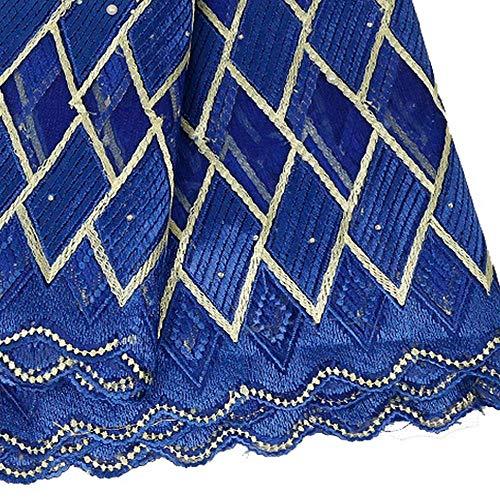 Tela africana del cordón Bordado de tul vestido de novia de encaje francés de Nigeria cordón de la tela, tela africana del cordón Rusia Para vestido de novia ( Color : ROYAL BLUE , Size : 5YARDS )