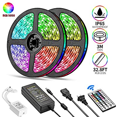 Led Strip Lights, Aiiato32.8ft/10M Led Light Strip 300LEDs SMD 5050 RGB, 12VDC Waterproof Flexible Changing Led Strips Kit 44Key Remote and 5A Adapterfor TV, Room Kitchen