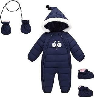 Baby Adorable Hoodie Jumpsuit Snow Suit Winter Zip Up Long Sleeve 3 Pcs Coat