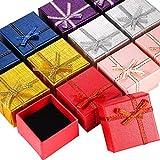 12 Pièces Boîte-Cadeau de Bague en Carton Paquet de Boîte