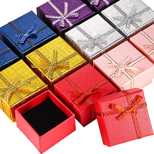 12 Pieces Cardboard Ring Gift Box Jewelry Boxes Package Case for Necklace Earring Gift, Random Color (Square Ring Box)