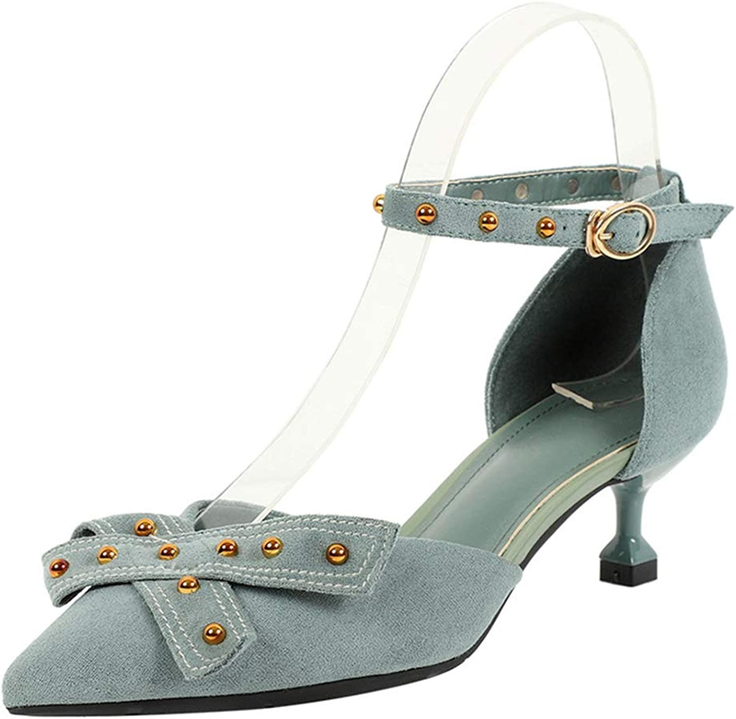 Phil Betty Women's Pump,Spring Rivet Bow Middle Heel Sexy Green Black Ankle Strap Pumps