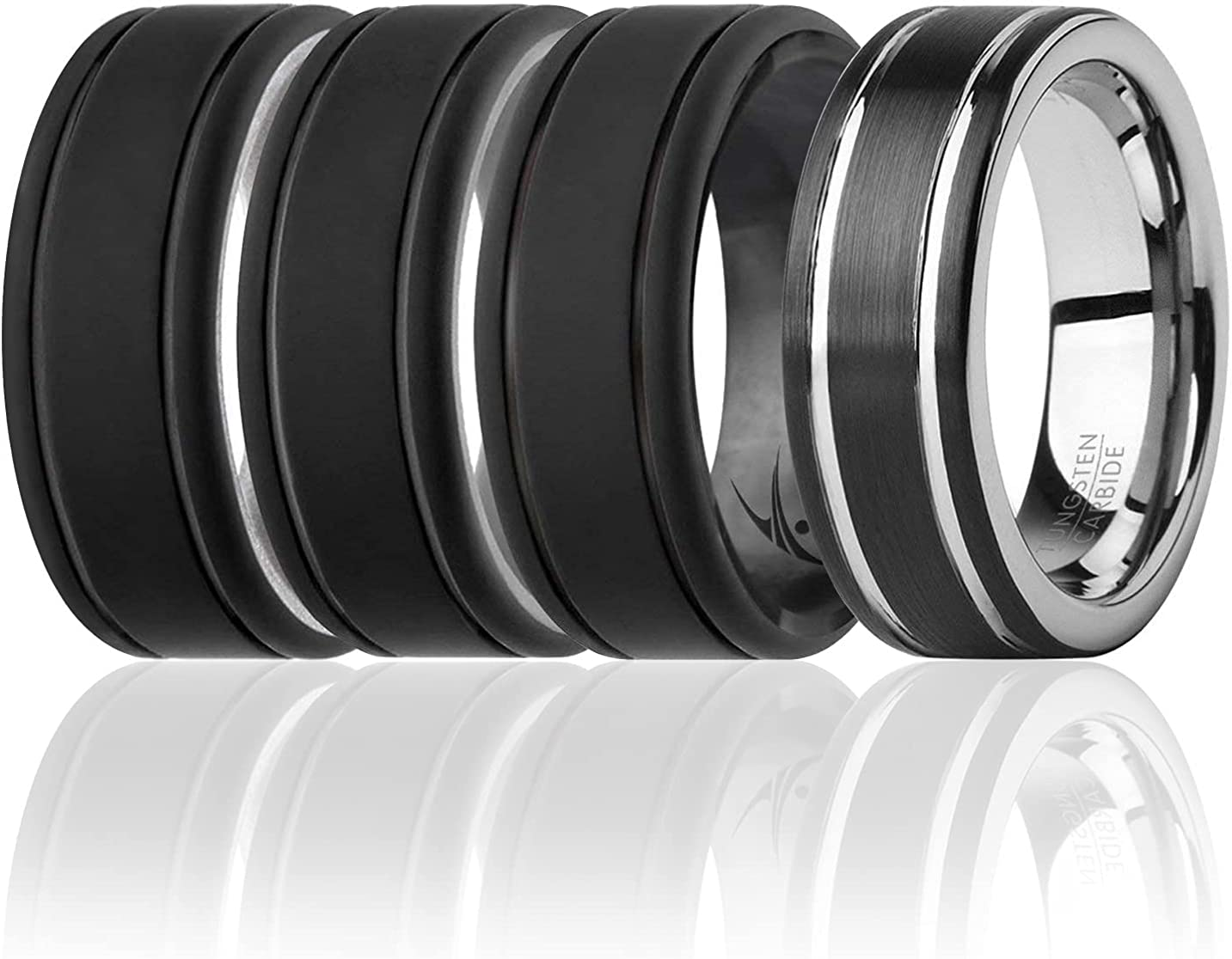 ROQ Classic 8mm Tungsten Carbide Wedding Men for 3 S Band Ring Overseas We OFFer at cheap prices parallel import regular item