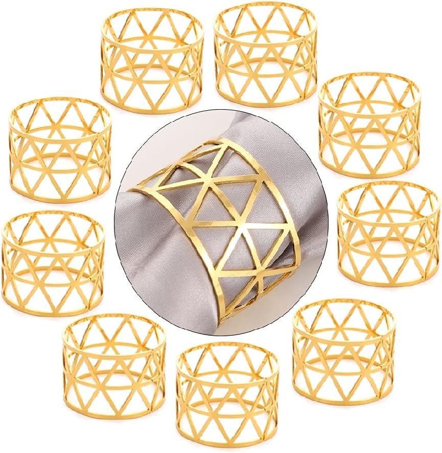 Aloces Servilleteros dorados, servilleteros de metal, servilleteros, servilleteros, servilleteros, anillos, hebillas para servilletas, hojas, decoración de mesa, cenas, servilleteros, 10 unidades